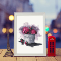 Blackberry Ice Cream | Watercolor & ink Illustration | Art print & Posters | Koma Art