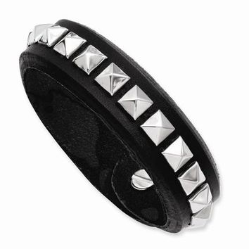 Stainless Steel Black Leather with Studs Adjustable Bracelet