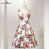 Cheap Vintage Women Floral pattern Strap Dress Hepburn Sexy Backless Rockabilly Knee-Length Short Big Swing Prom Party Dress