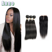 Online Shop Brazilian Straight Hair With Closure Brazilian Virgin Hair With Closure Tissage Bresilienne Avec closure Human Hair With Closure | Aliexpress Mobile
