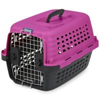 Petmate Compass Fashion Kennel Carrier Chrome Door Pink 19 Inch