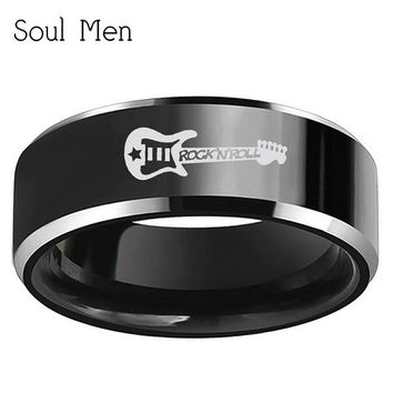 Soul Men Customize Music Guitar Engraved Jewelry 8mm Silver Black Tungsten Carbide Ring for Musician
