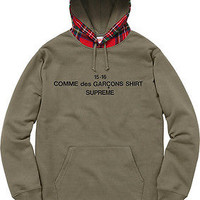 SUPREME F/W 2015 COMME DES GARCONS CDG HOODED SWEATSHIRT HOODIE OLIVE L LARGE