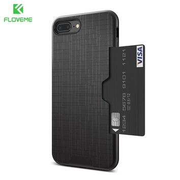 Card Slot Phone Case For iPhone 7 Luxury Wallet iPhone 8 6 6s 7 Plus Cases Armor Back Cover