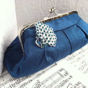 Teal silk clutch with peacock rhinestone brooch, teal blue formal clutch purse in frame
