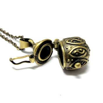 "Genie in a Bottle Necklace // Brass Locket // 17"" Brass Chain Necklace // Secret Places (Last Piece)"