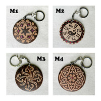 Enchanted mandala pyrography customizable wooden key chain personal gift for her or for him