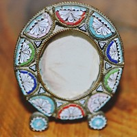 Micro Mosaic Miniature Frame, Antique Gold Filled Locket, 1920's