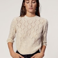 Openwork cable-knit sweater - Women | MANGO USA