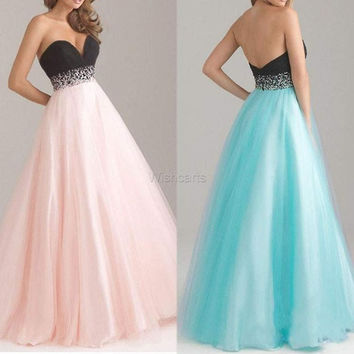 Stylish Women Sexy Bridesmaid Strapless Organza Party Wedding Maxi Dress = 5739335745