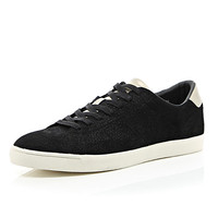 River Island MensBlack textured lace up sneakers