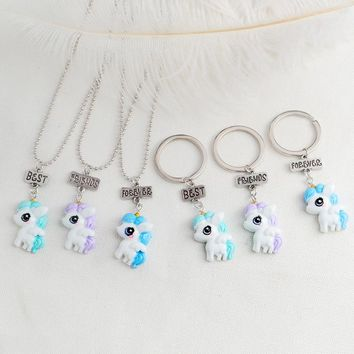 3pcs/set Cartoon Horse Best friends forever Pendant Necklace Key chains BFF Friendship Keyring for Girl Boy Kid Animal Jewelry