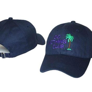 LMFONPR Navy Blue Do Nothing Club Embroidered Adjustable Cotton Baseball Golf Sports Cap Hat