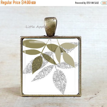 ON SALE Dried leaves, greenish gray, white glass pendant, brass, necklace, keychain, unisex gift