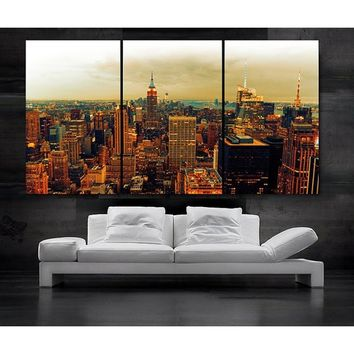 3 Panels Large Size Beautiful View Manhattan Skyline New York City NY Decoration Modern Creative Painting Picture Art Picture Mo