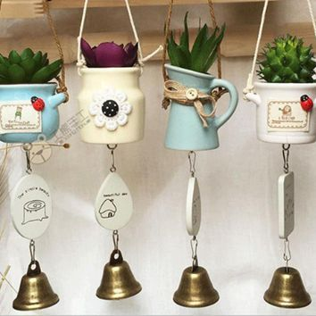 Ceramic Pot With Succulents Wind Chime