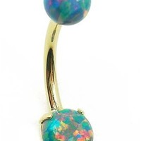 Synthetic Teal Opal Belly Button Ring in 14 karat Gold