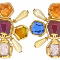 Chanel Multi-Color Stone and Pearl Earrings