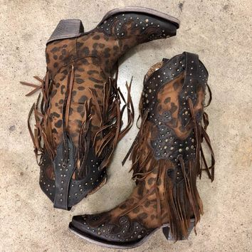 Corral Women's Brown Leopard Fringe and Studs Boots