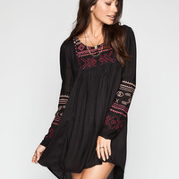 Patrons Of Peace Embroidered Dress Black  In Sizes