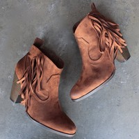 cara fringe ankle boots - rust
