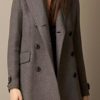 Oversize Pea Coat with Leather Undercollar
