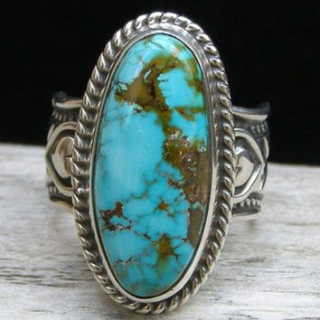 Exquisite Natural Turquoise 925 Sterling Silver Gemstone Wedding Engagement Floral Ring Vintage Jewelry