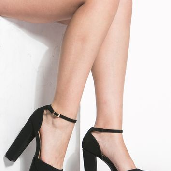 Black Faux Suede Ankle Strap Chunky Platform Heels @ Cicihot Heel Shoes online store sales:Stiletto Heel Shoes,High Heel Pumps,Womens High Heel Shoes,Prom Shoes,Summer Shoes,Spring Shoes,Spool Heel,Womens Dress Shoes