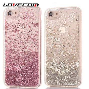 LOVECOM For iPhone 7 7 Plus 6 6S Plus Phone Back Cover Cute Beads Dynamic Liquid Quicksand Diamond Soft TPU Frame Phone Case