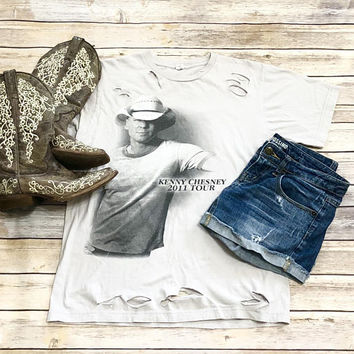 Kenny Chesney, MEDIUM, bleached, distressed, grunge, vintage, band, concert, tee, shirt, graphic tee, country music tee,