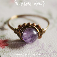 Small Amethyst Boho Ring, wire wrapped ring, boho jewelry, wire wrapped jewelry handmade, unique ring, rustic ring, cocktail ring