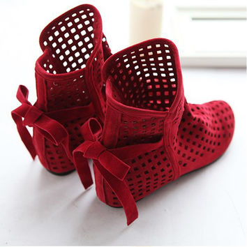 Women shoes Height Increasing Sandals For Summer Sandals Casual Lace-Up Gladiator Fretwork Nubuck Leather shoes big size 34-43