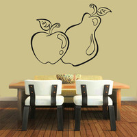 Apple Wall Decals Food Fruits Kitchen Wall Decor Cafe Vinyl Decal Pear Sticker Home Decor Interior Design Living Room Decor KG915