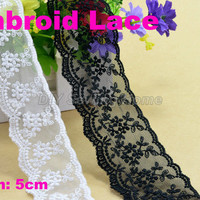 5 cm width embroid sewing ribbon guipure lace trim or fabric warp knitting DIY Garment Accessories free shipping#2664