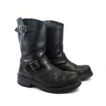 Engineer Boots Vintage 1990s Black Leather  Motorcycle Herman Survivor Steel toe men's size