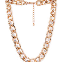 FOREVER 21 Rhinestoned Link Chain Necklace