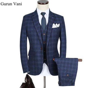 ONETOW DHL Free Shipping Blue Plaid Herringbone Retro Gentleman Style Custom Made Men's Suits Tailor Suit Blazer Suits For Men 3 Piece