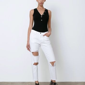 Get Ready Boyfriend Denim Jeans - White