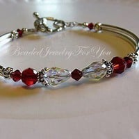 Wedding Bracelet Ruby Red Siam Swarovski by beadedjewelryforyou