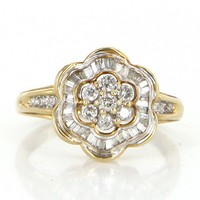 Vintage Diamond Flower Cluster Cocktail Ring 10 Karat Yellow Gold Estate Jewelry 7