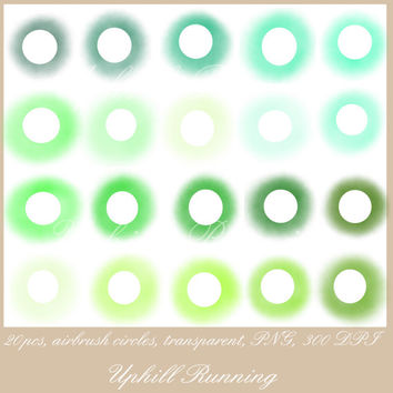 "Clip art circles, Airbrush clipart dots, 20pcs, mint green teal transparent circles, 4"", 20 PNG, 300 dpi, blog scrapbooking website supplies"