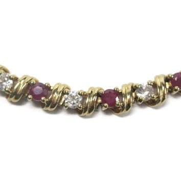 Vintage 4 Ctw Genuine Ruby Cubic Zirconia Bracelet Sterling Vermeil 7 Inches