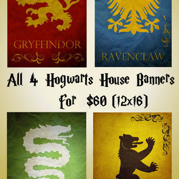 Harry Potter movie poster movie art film print harry potter art poster print All 4 Hogwarts Banners (11x17 size)