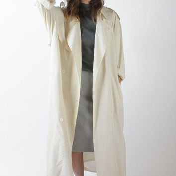 Vintage 90s Ivory Silk Oversized Trench Coat | M L XL
