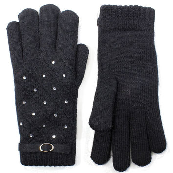 Women Rhinestone Studded Gloves Lined