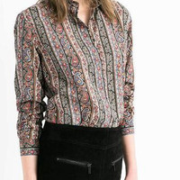 Totem Print Long-Sleeve Collared Shirt