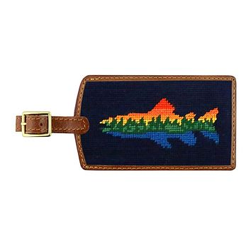 Lake Trout Needlepoint Luggage Tag in Dark Navy by Smathers & Branson