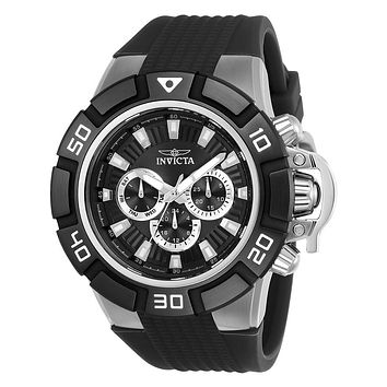 INVICTA I-Force Mens Day / Date Watch - Black Dial & Silicone Strap - 100m