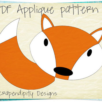 Fox Applique Template - Applique Quilt Pattern / Kids Boys Fox Tail Applique Shirt / Forest Table Runner / Toddler Nursery Blanket / DIY -D