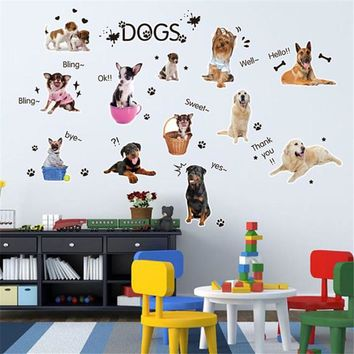 PUPPIES Dog Pet Shop Wall Sticker Art Lovely Cute Animals For Kids Baby Room adesivos de parede poster IT6617